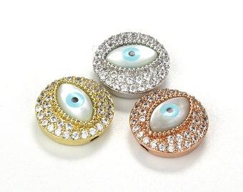 Micro Pave Evil Eye Beads, Shell Eye Bead, 15x6.5mm,Pkg of 1 PC, B0UP.P01