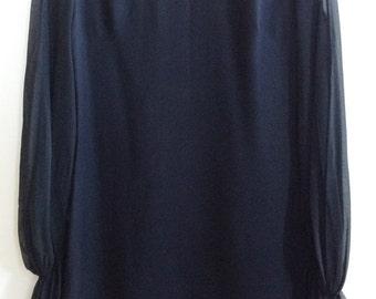 Vintage 1960s Black Dress with Sheer Sleeves