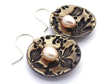 Hand Crafted Raw Bronze and Fresh Water Pearl Drop Earrings on Sterling Ear Wires
