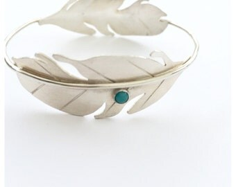 Sterling Silver Feather Boho Bracelet Bangle with Turquoise and Coral