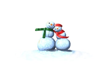 Snow Man Christmas Card Pack of 10. Postage Included