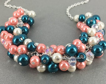 Coral and Teal Necklace, Chunky Necklace, Bridesmaids Necklace, Maid of Honor Necklace, Wedding 2016, Teal and Coral Wedding