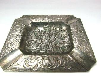 Vintage Occupied Japan Silver Metal Ashtray