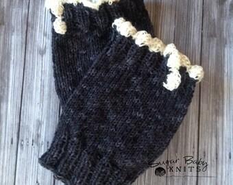 KNIT PATTERN - Ruffled Trim Boot Cuffs - Ribbed Boot Cuff,  2 patterns in one, Knit, Hand Knit, Pattern, Black , Women, Adult, Teen