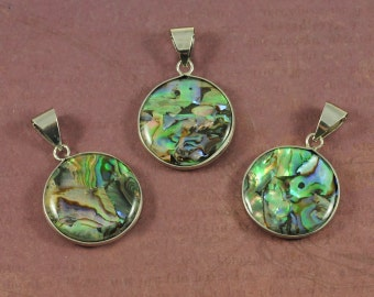 Abalone Shell Round Coin Pendants with Silver Bezel & Large Bail