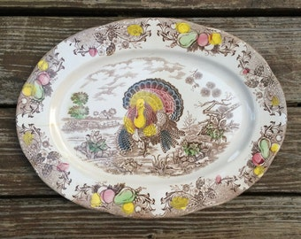 Transferware ironstone Thanksgiving turkey platter, Japan
