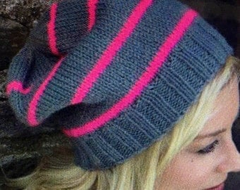 Neon Striped Slouchy Hat