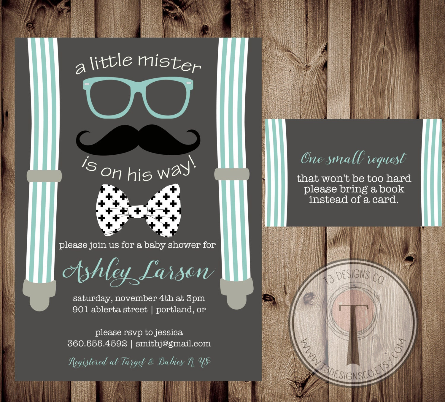 Little Man Baby Shower Invitation and Book Request card, little ...