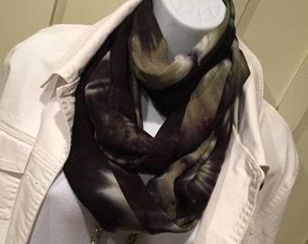Tye dye scarf, Infinity hand dyed scarf, Rayon scarf, Black/Sage scarf, Groovy scarf, Hippie scarf, Trendy scarf