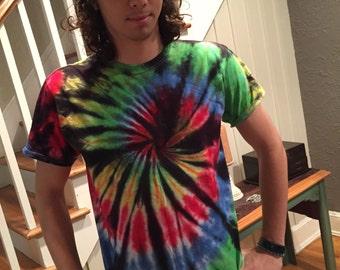 Tie dye mens tshirt, young man's tie dye tshirt, hippie tshirt, hand dyed tshirt, stained glass tie dye tshirt