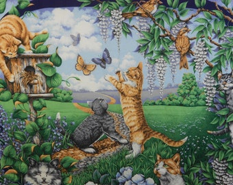 Cat playing in a garden with butterflies fabric panel