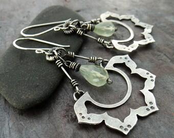 Lotus Flower Large Dangle Earrings // handmade sterling silver flowers with fresh green quartz stone drops // artisan zen jewelry (4425)