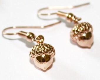 Rose Gold Acorn Earrings Autumn Earrings Fall Earrings