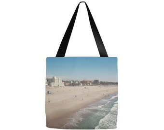 Santa Monica tote bag, California Photography, Grocery sack, teacher tote, gym beach bag, yoga gear, diaper bag, mom, gifts, birthday