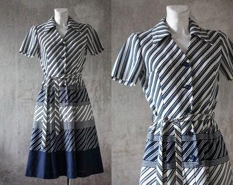 1960s dress / vintage retro  mod dress /white navy blue  secretary day dress/ diagonal stripe knee length dress/ S/M
