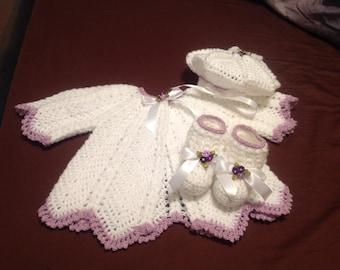 Crochet Baby Girl Sweater Set, Hat, Booties  Size New Born