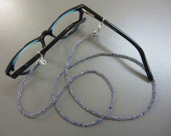 Beaded Spectacle Chain: Petrol Shimmer - Extra Long Glasses Chain - Extra Long Spectacle Chain - Very Long Eyeglass Holder