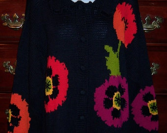 Vintage Eagle's Eye Black Pink Orange Poppy Poppies Floral Flower Hand Knit Cotton Cardigan Sweater Large