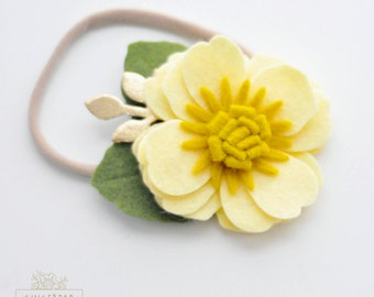 Single Posy Flower Headband or Alligator Clip - Yellow Felt Flower Headband - Baby, Newborn Photo Prop