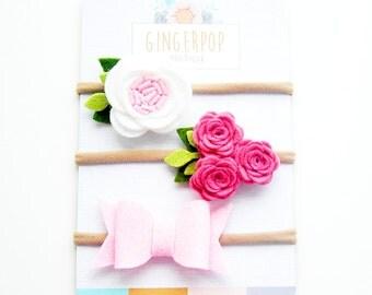 Pretty In Pink Felt Newborn Headband set - Choose any or all - Newborn photo prop - Newborn felt flower headband