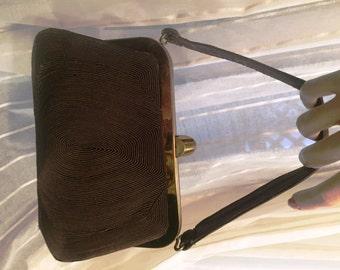 Vintage Chocolate Brown Corde Hand Bag, Genuine Corde, ca 1950s