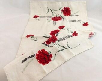 Vintage Linen Tea Towel Red Roses