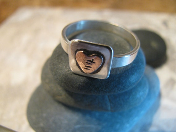 Sterling Silver with Copper Heart Ring, Hand Stamped, Soldered, One Of A Kind, Unique, Toniraecreations