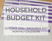 Household Budget Kit {INSTANT DOWNLOAD} 2017 Calendar with Oct to Dec 2016 // letter size // purple bold