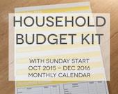 Household Budget Kit {INSTANT DOWNLOAD} SUNDAY Start 2016 Calendar // letter size // banana