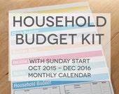 Household Budget Kit {INSTANT DOWNLOAD} SUNDAY Start 2016 Calendar // letter size // multicolor