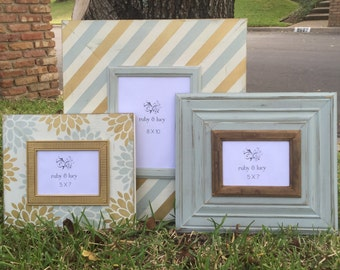 distressed picture frame set 8x10 and (2) 5x7 | neutral frames | custom gallery grouping | wall decor | shabby chic frame |housewarming gift
