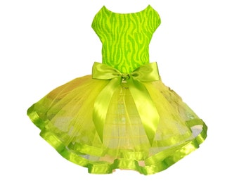 Dog Tutu Dress, Dog Clothing, Dog Wedding Dress, Pet Clothing, Lime Green Tutu