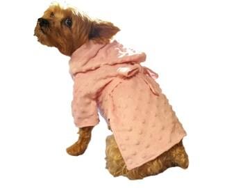 Dog Robe, Dog Dress, Dog Clothing, Pet Dress, Pet Clothing-Pink Terry Bathrobe