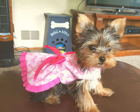 Dog Dress, Dog Clothiing, Pet Clothing Breast Cancer Awareness