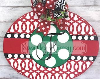 Christmas Door Hanger: Monogrammed Christmas Ornament Door Hanger Sign; Christmas Ornament Door Hanger