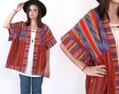 Vintage Ikat Woven Ethnic Tribal Rainbow Cotton Striped Oversized Native Guatemalan Jacket One Size