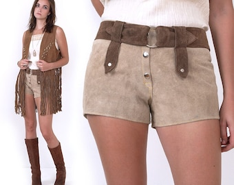 70's Suede Leather Hot Shorts Vintage Hippie Boho Festival Tan Brown M