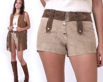 70's Suede Leather Hot Shorts Vintage Hippie Boho Festival Tan Brown S/M