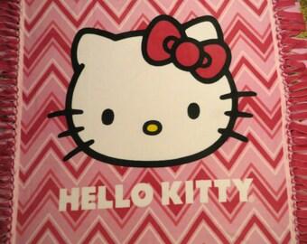 Hello Kitty Chevron Fleece Blanket..No Sew..Hand tied..Double layer with nylon backpack..Gift