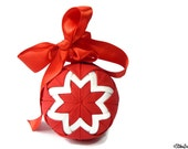 Quilted Bauble, Red and White Decor, Hanging Decoration, Fabric Bauble, Christmas Bauble, Christmas Hanging, Star Decoration, Festive Decor