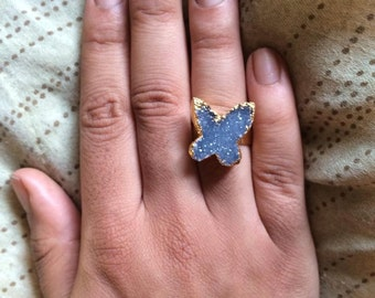 Drusy Butterfly Ring Adjustable