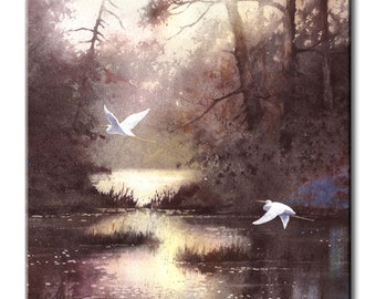 White Egrets Flying East Art Tile Print on Ceramic with Hook or with Feet Indoor Use -Nature, Birds