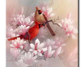 Cardinals Art Tile Print on Ceramic with Hook or with Feet Indoor Use -Nature, Flowers, Birds