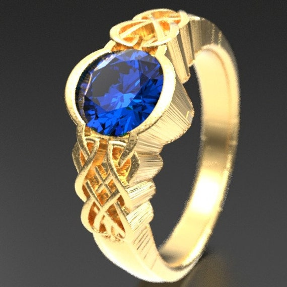 Gold Celtic Blue Sapphire With Dara Knot Style Design in 10K 14K 18K or Palladium, Made in Your Size Cr-1032