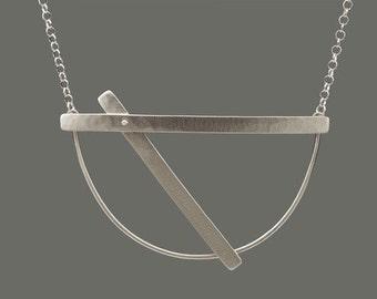 Sterling Riveted Slide Necklace, rivet, necklace, silver necklace, sterling silver necklace, handmade silver necklace, forged, wearable art