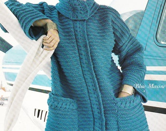 2 Vtg Toggle Coat Knitting Pattern Ribbed Coat and Hat Winter Hooded Sweater Coat Pattern - Digital Pattern - Instant Download Knit Jacket