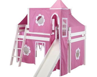 Twin Princess Loft Bed with Slide, Hot Pink/White Curtain, Tower and Top Tent