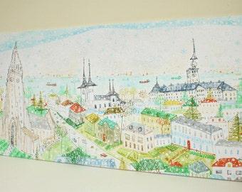REYKJAVIK CANVAS ART, Giclee Canvas Print, Hallgrims Church, Large Wall Art, Iceland Painting, Snow Mountain Scene, Reykjavik Church Drawing