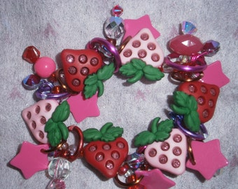 Little girls' strawberry bracelet/ Strawberry bracelet/Strawberry charm bracelet/beadiebracelet