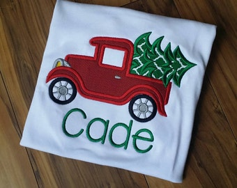 Christmas truck Embroidered shirt